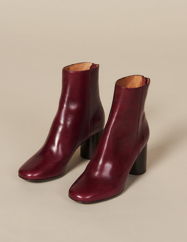 Leather Ankle Boots : New In color Bordeaux