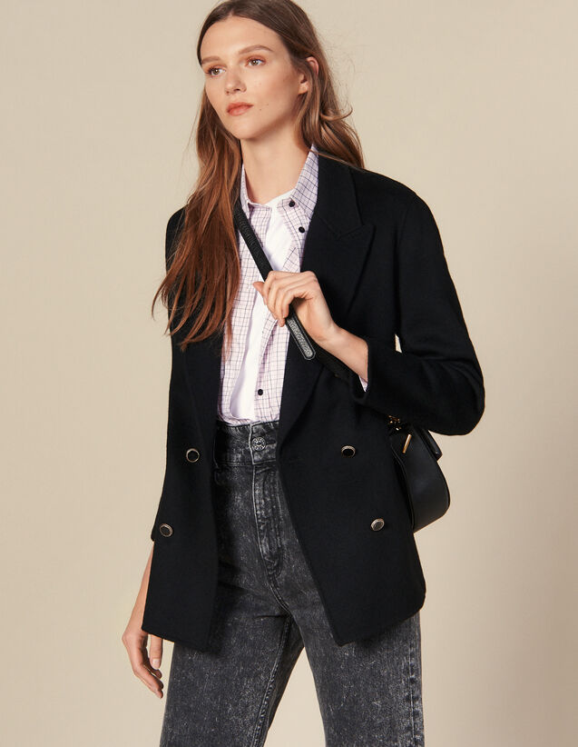 Double-Breasted Wool Blazer : Blazers & Jackets color Black