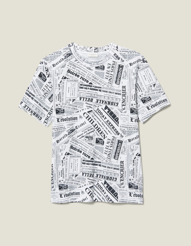 Newspaper Print T-Shirt : T-shirts & Polo shirts color White And Black