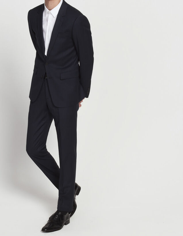 Slim fit trousers in flecked super 120's : All Selection color Blue