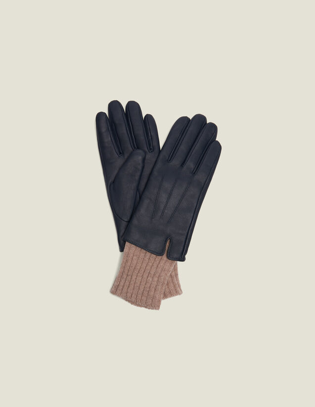 Leather Gloves With Knit Cuffs : Gloves & Hats color Black Brown
