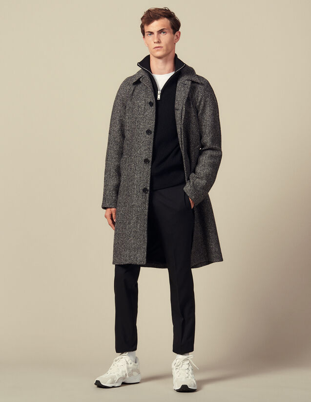 Coat With Belt : Trench coats & Coats color Noir/Gris