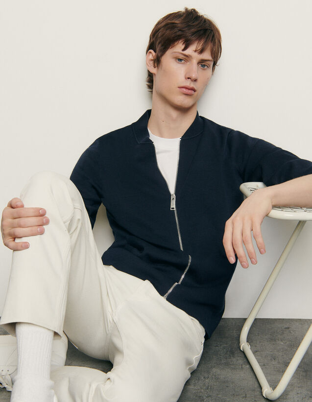 Varsity-style cardigan : New Summer Collection color Navy Blue
