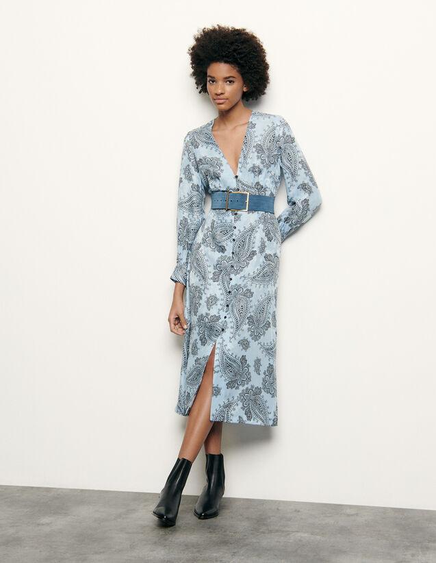 Robe midi en soie mélangée imprimée : FNouvelle-Collection-Ete couleur Bleu