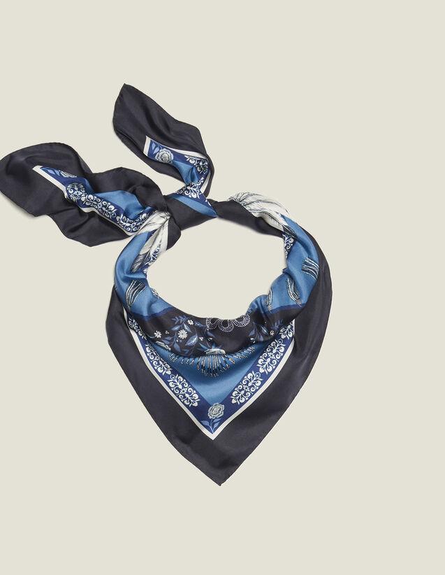 Printed Silk Scarf : Scarves color Blue Jean