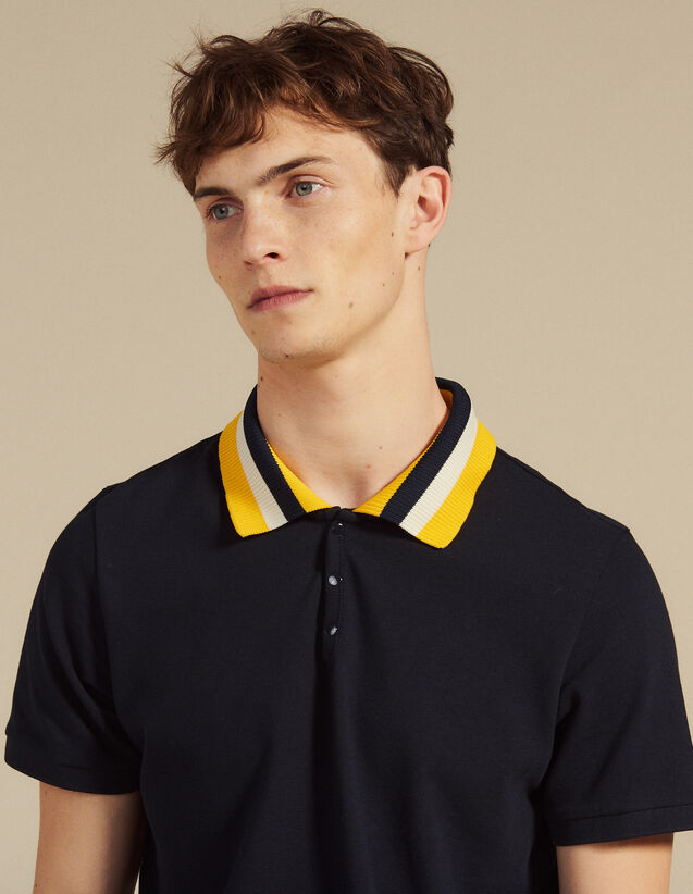 Cotton Polo Shirt With Varsity Collar : T-shirts & Polo shirts color white