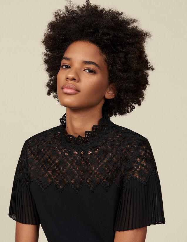 Top doté d'un empiècement en guipure : Tops & Chemises couleur Noir