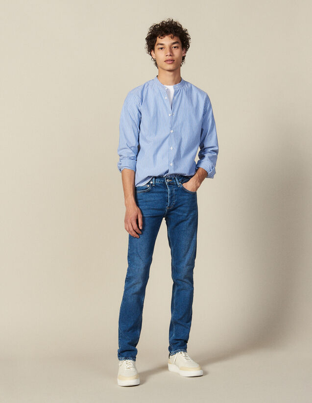 Striped Shirt With Mandarin Collar : Winter Collection color Blue/white