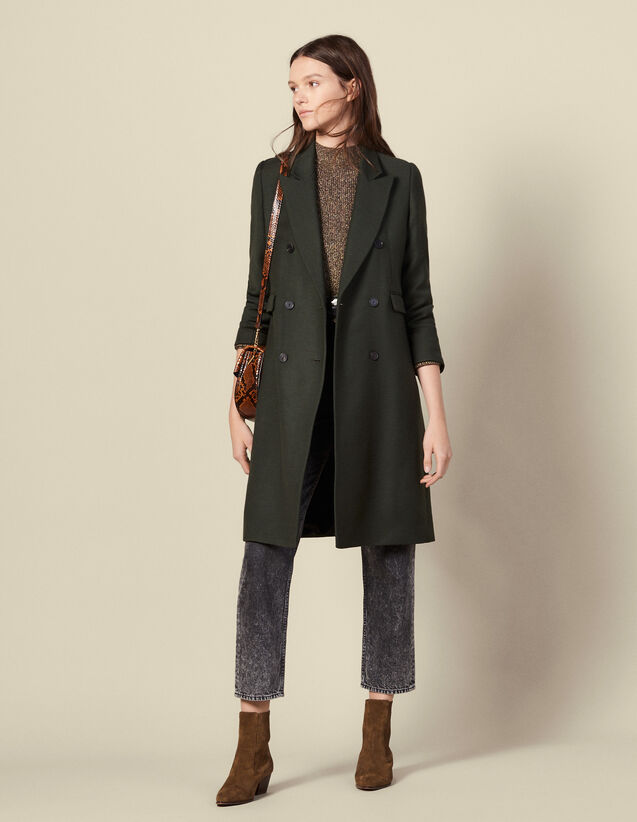 Long wool coat : Coats color Olive Green
