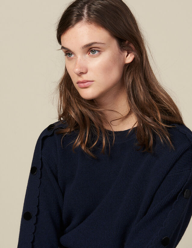 Sweater With Buttons On The Sleeves : Sweaters & Cardigans color Navy Blue