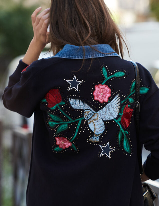 Embroidered Cardi-Coat With Denim Collar : Sweaters & Cardigans color Navy Blue