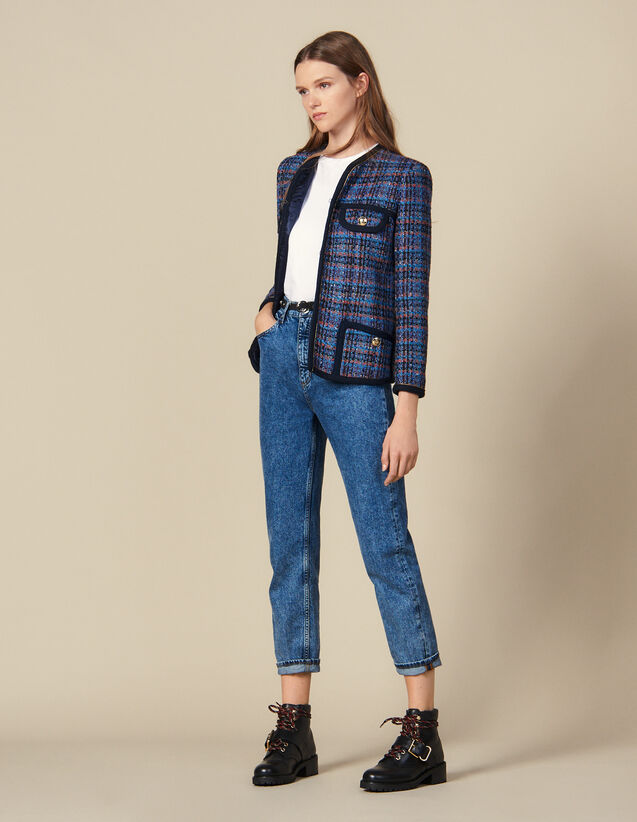 Veste en tweed à carreaux : Blousons & Vestes couleur Multicolore