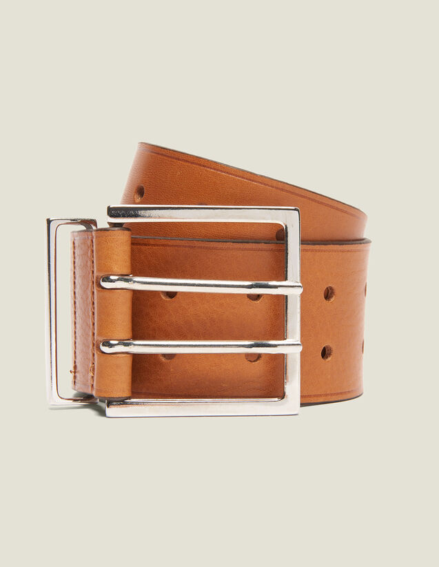 Wide Leather Belt : Belts color Curcuma