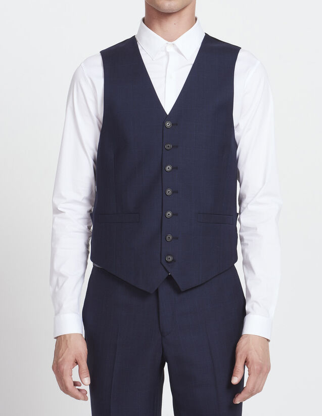 Prince of Wales waistcoat - Super 120s : All Selection color Steel blue