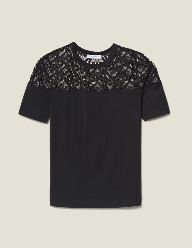 T-Shirt With Guipure Insert : T-shirts color Black