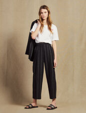 Matching Striped Trousers With Darts : null color Black
