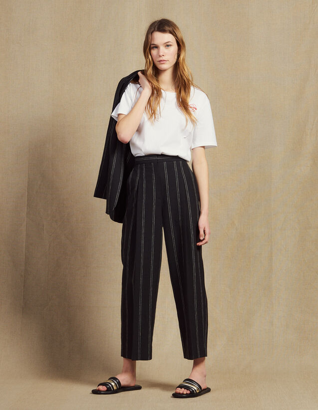 Matching Striped Trousers With Darts : Pants color Black