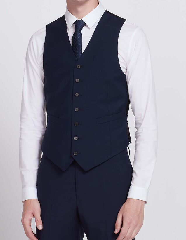 Slim fit waistcoat in super 100s wool : All Selection color Blue