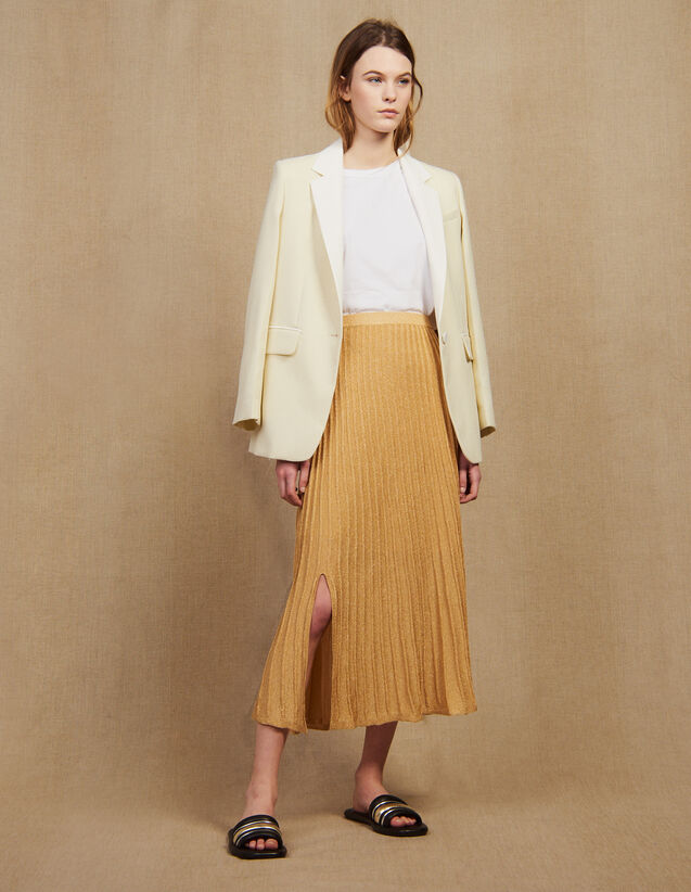 Long Knit Skirt With Pleats : Skirts & Shorts color Gold