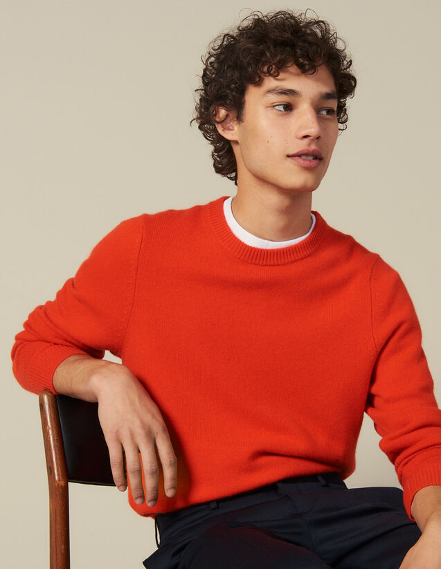 Wool And Cashmere Sweater : Sweaters & Cardigans color Orange