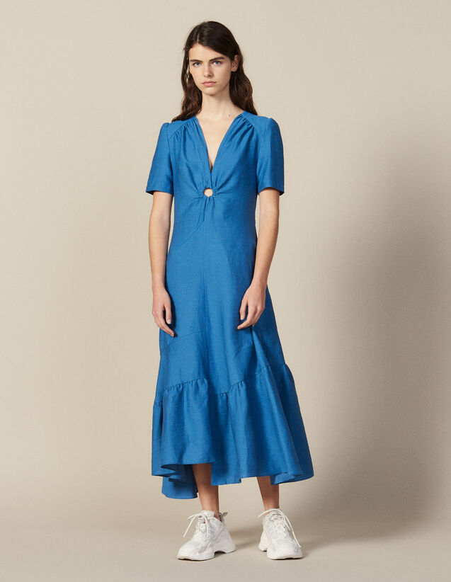 Long Dress Trimmed With A Covered Ring : LastChance-FR-FSelection color Blue Jean