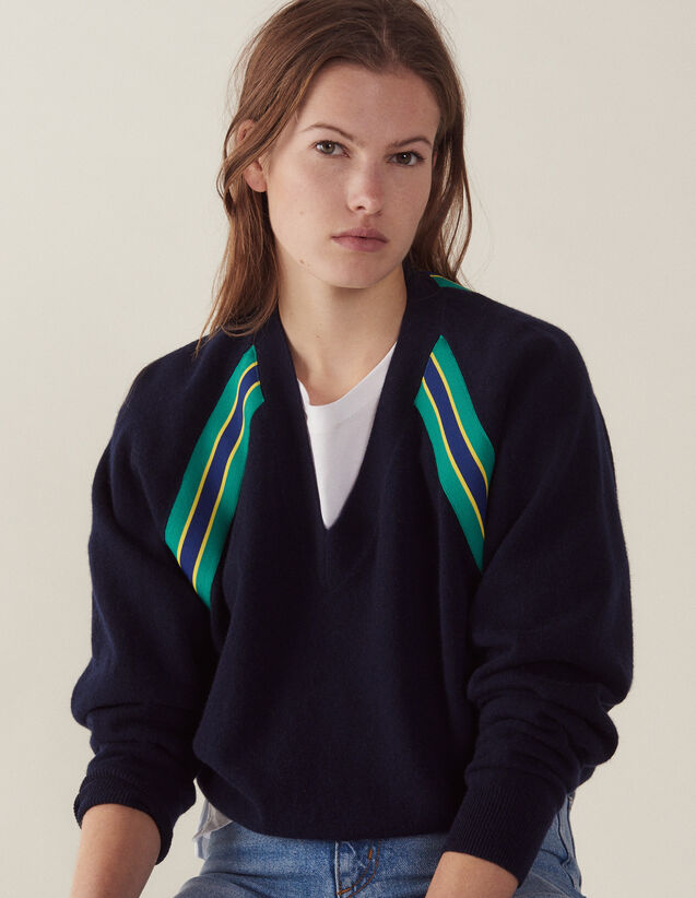 Long-Sleeved Sweater With Braid Trim : LastChance-FR-FSelection color Navy Blue