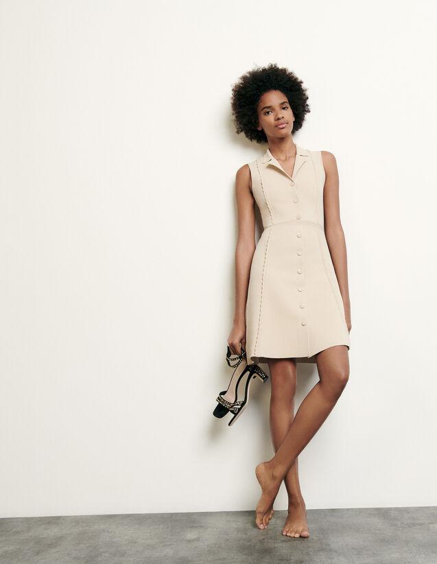 Robe courte en maille à col tailleur : FNouvelle-Collection-Ete couleur Beige