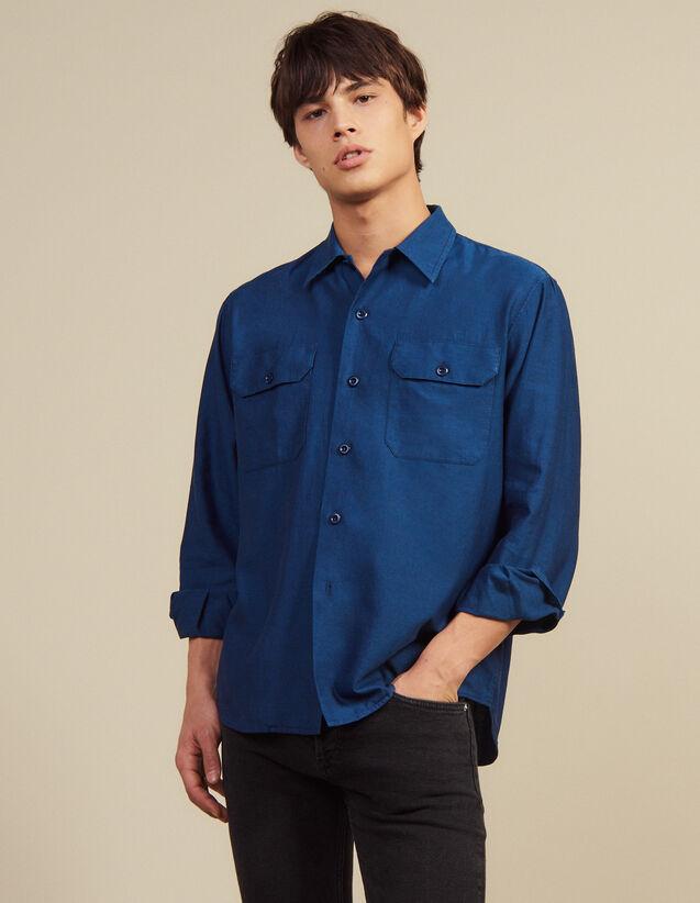 Flowing Herringbone Fabric Shirt : Shirts color Blue