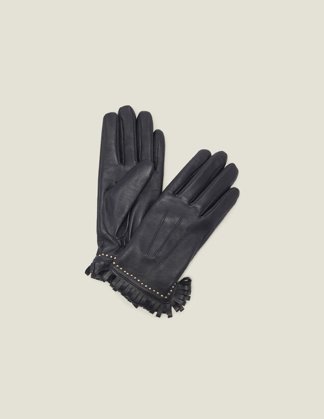 Leather Gloves With Studs And Fringing : All Winter collection color Black