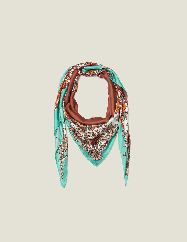 Silk baroque print scarf : All Winter collection color Black