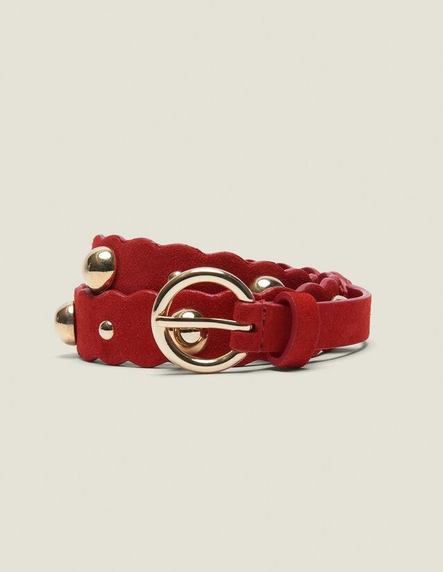 Leather Belt With Decoration : null color Red