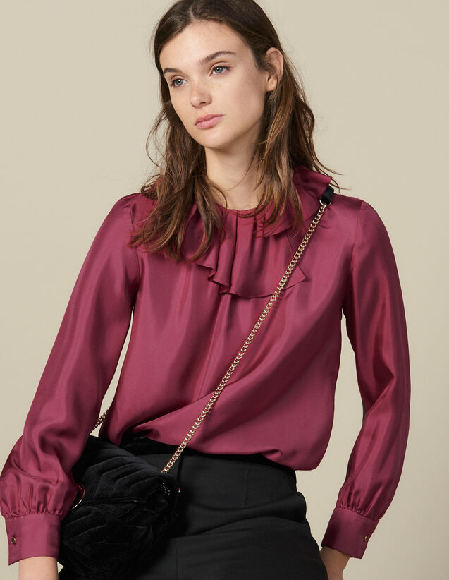 Silk Top With Small Asymmetric Collar : FBlackFriday-FR-FSelection-30 color Fuchsia