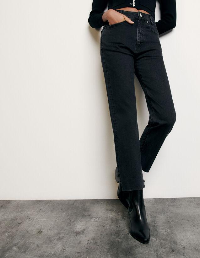 Jean droit à bords francs : FNouvelle-Collection-Ete couleur Black - Denim
