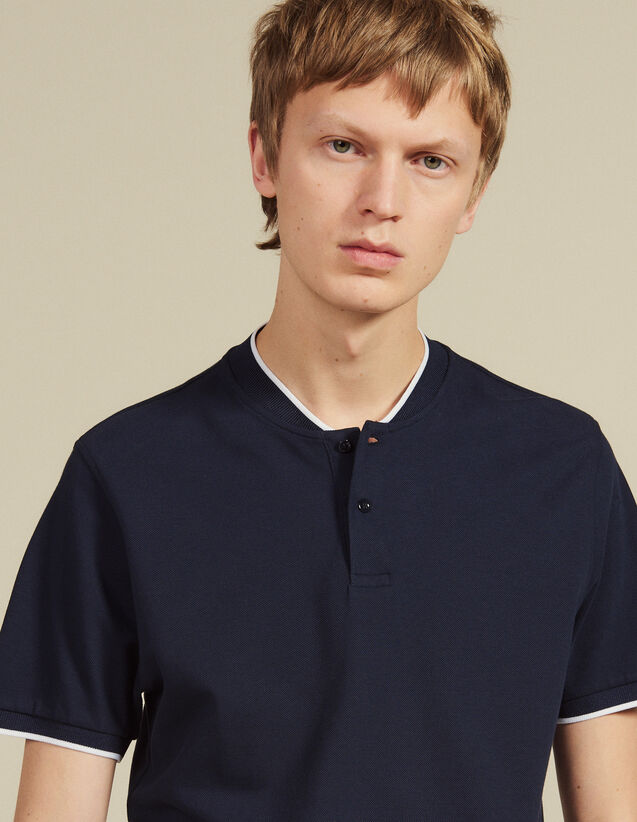 Polo Shirt With Contrasting Collar : New Collection color Navy Blue