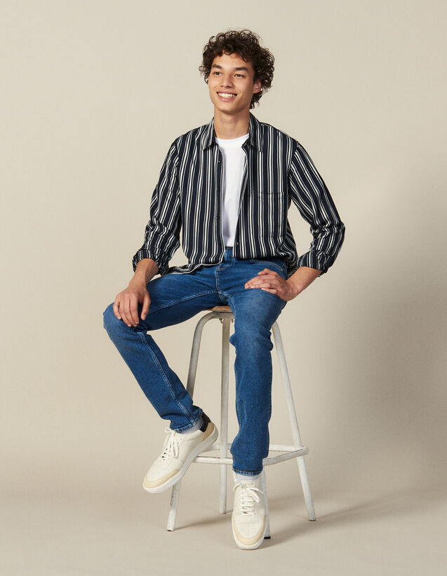 Striped Flowing Shirt : New Collection color Navy Blue