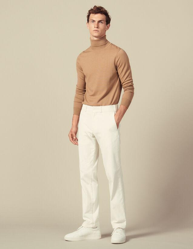 Straight-Cut Velvet Trousers : Winter Collection color Ecru