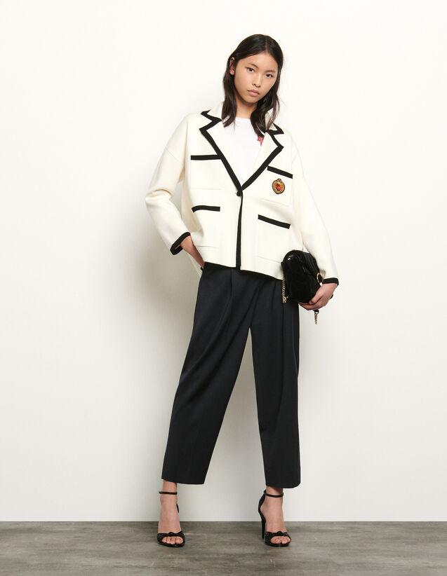 Cardigan façon veste de tailleur : FNouvelle-Collection-Ete couleur Ecru