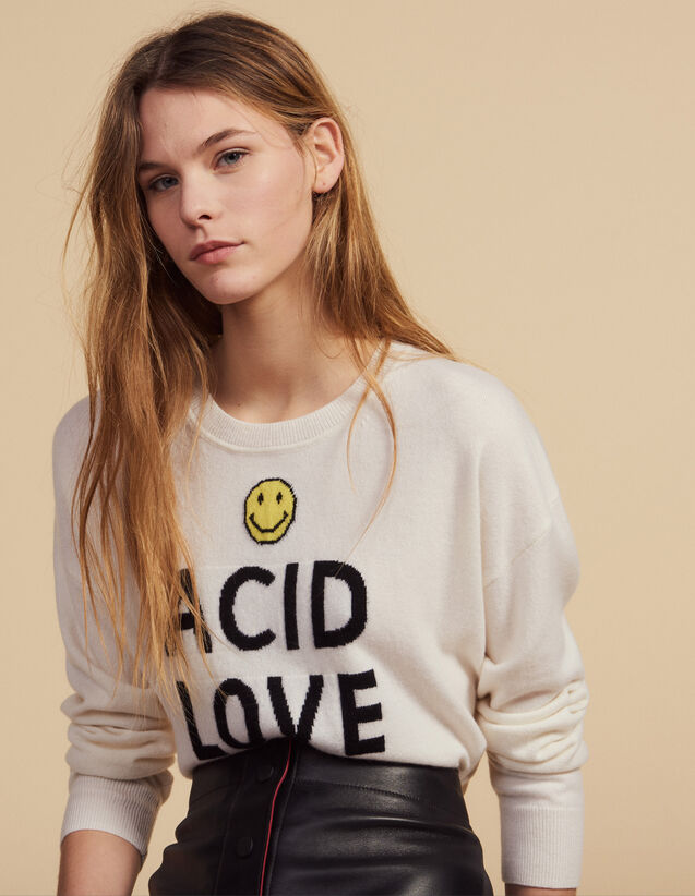 Sweater With Contrasting Lettering : Sweaters & Cardigans color Ecru