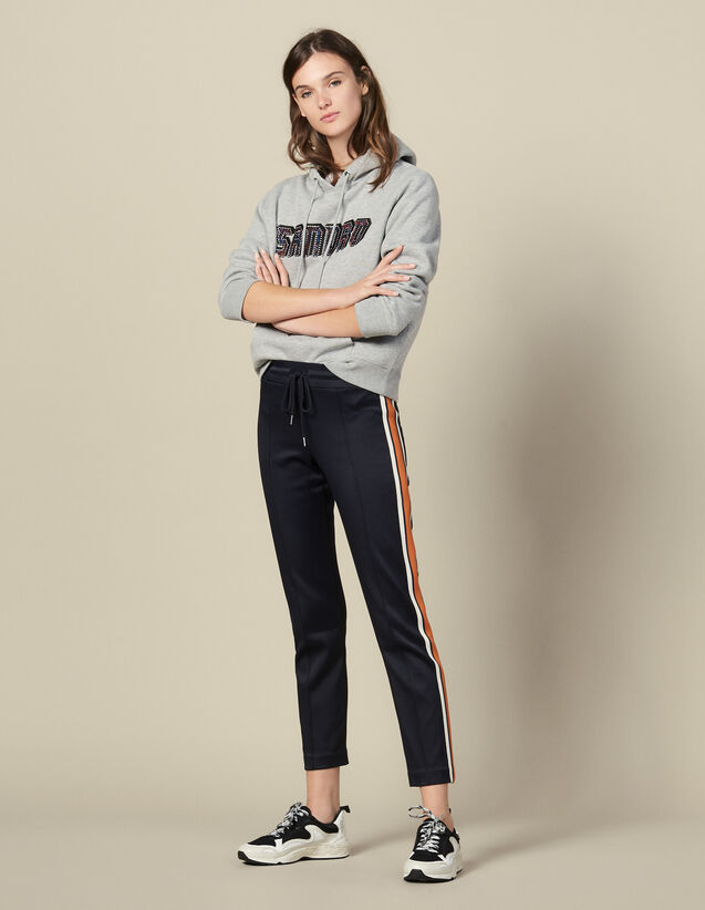 Jersey Jogging Bottoms With Stripes : Copy of VP-FR-FSelection-Pantalons&Jeans color Navy Blue
