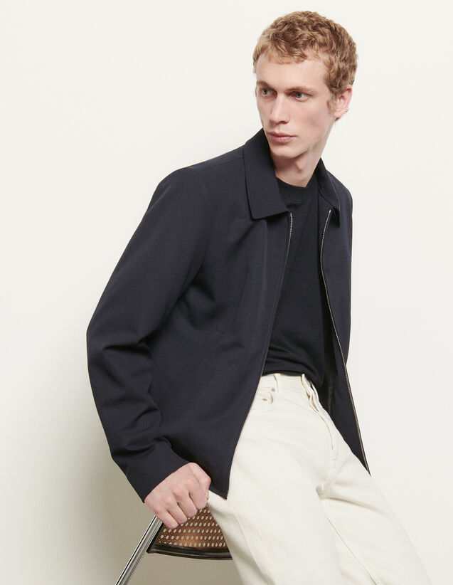 Wool jacket with shirt collar : New Summer Collection color Navy Blue