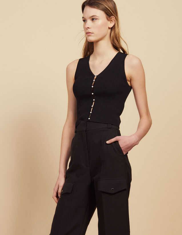 Ribbed Knit Sleeveless Top : Tops & Shirts color Black