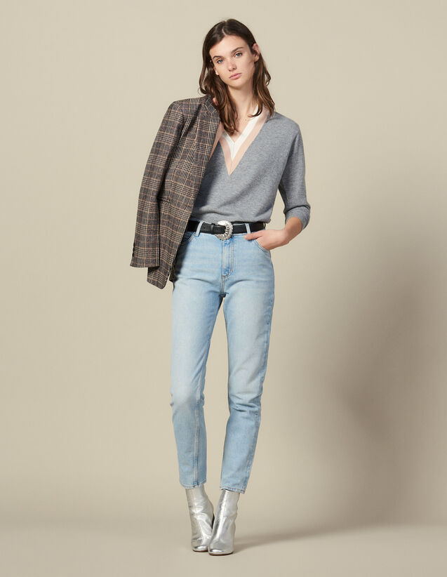 High-waisted washed jeans : FBlackFriday-FR-FSelection-30 color Blue Vintage - Denim