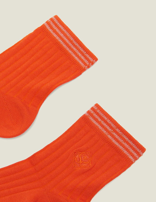 Embroidered Cotton Socks : Socks color Orange