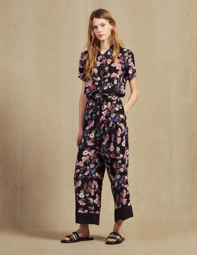Floral Print Jumpsuit : Jumpsuits color Black