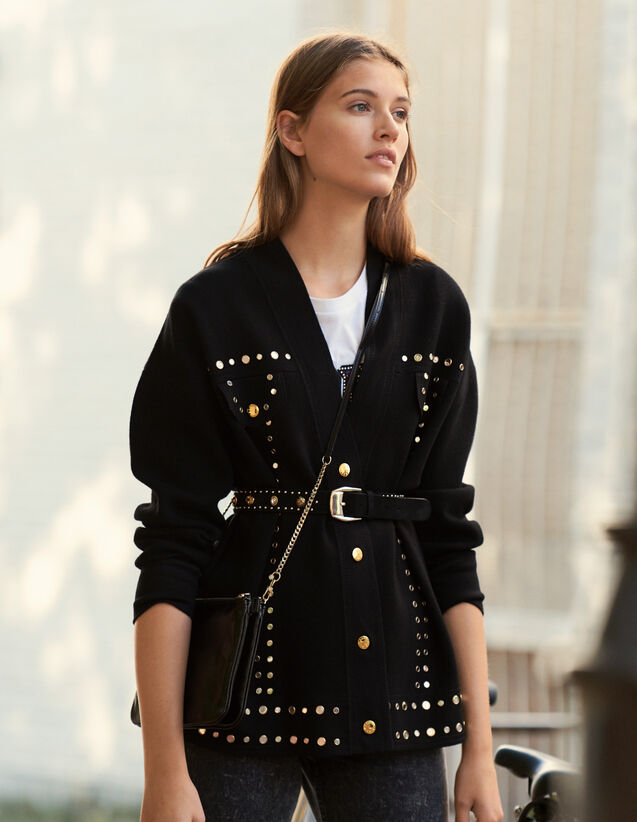 Cardi-Coat Trimmed With Studs : New In color Black