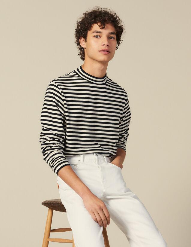 Striped Funnel Neck T Shirt : Sweaters & Cardigans color Black/Ecru