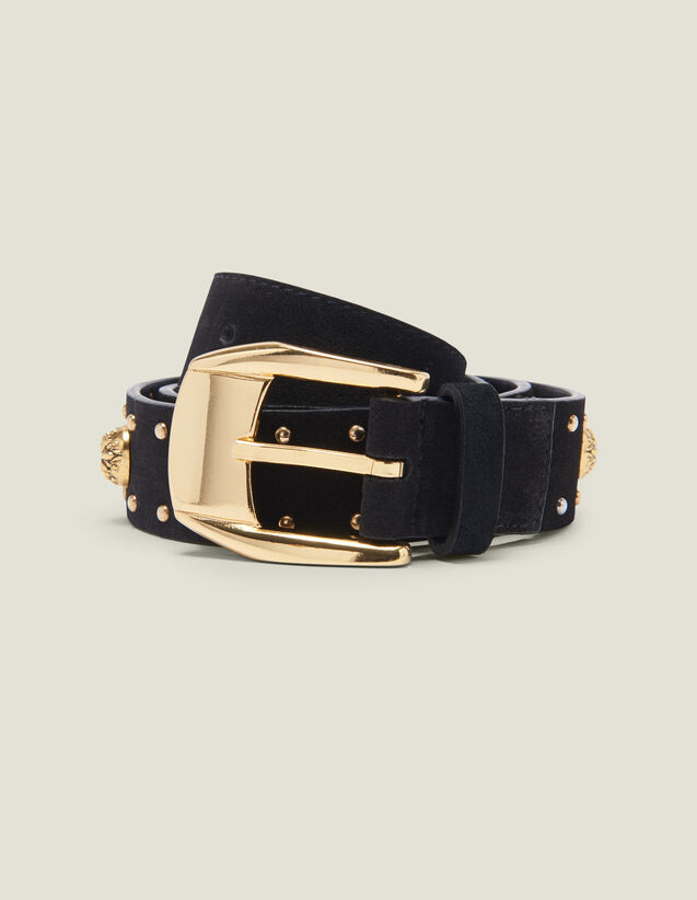 Belt trimmed with rivets and rhinestones : Best of the season color Black