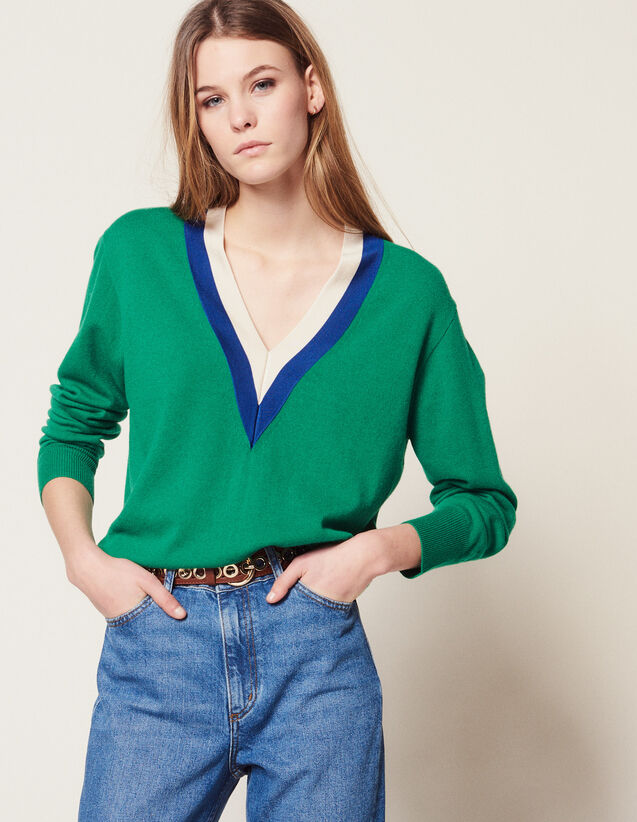 V-Neck Sweater With Two-Tone Edging : Sweaters & Cardigans color Sky Blue