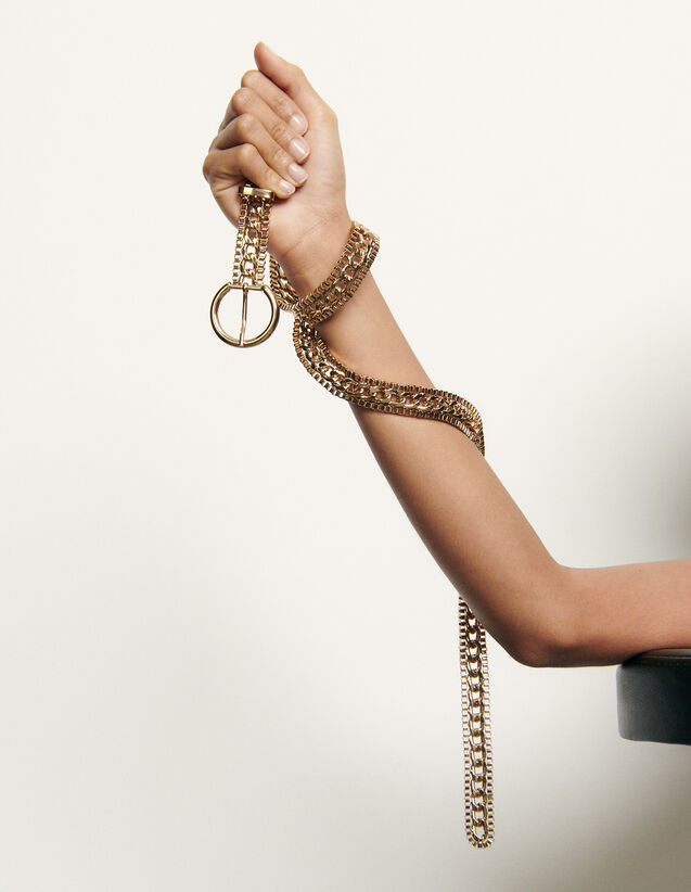 Chain belt with round buckle : All Accessories color Gold