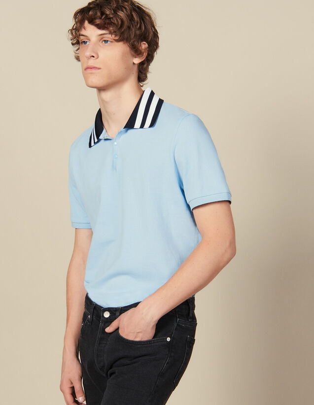 Cotton Polo Shirt With Striped Collar : All Winter collection color Sky Blue